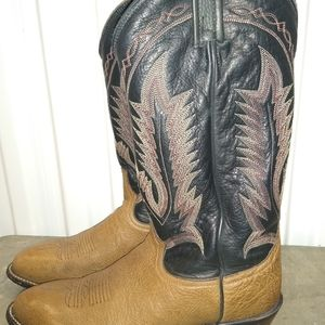Tony Lama Leather Cowboy Western Pull On Boots 9.5